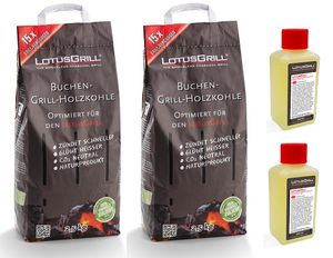 Spar-Set: LotusGrill 2x  Buchenholzkohle 2,5 kg Sack + 2x Brennpaste 200 ml