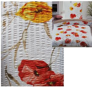 2-tlg. Seersucker Bettwäsche, Größe: 135 x 200 +80x80cm, weiß, Blütenmuster, bügelfrei, Microfaser