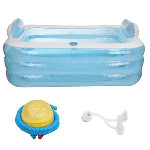 CAMTOA Aufblasbarbecken Planschbecken Schwimmbad Schwimmbecken Pool Kinderpool Familienpool 180x140x60cm Kinder Erwachsene