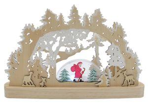 Kabelloser Schwibbogen aus Echtholz gefertigt, beleuchtet mit 13 kaltweißen LED´s
