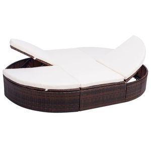 vidaXL Outdoor-Lounge-Bett mit Polster Poly Rattan Braun