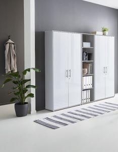 Schrankwand Office Edition 10 Büroregal Aktenschränke Büroschrank abschließbar in Lichtgrau / Weiß Matt