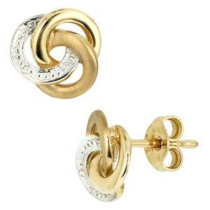 JOBO Ohrstecker 585 Gold Gelbgold teilrhodiniert 2 Diamanten Brillanten Ohrringe