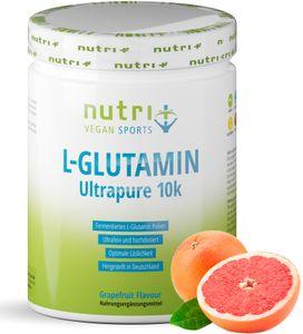 L-GLUTAMIN Pulver 500g Vegan - hochdosiert - Fermentiertes L-Glutamine Powder - Aminosäure - glutenfrei & laktosefrei - Grapefruit Geschmack