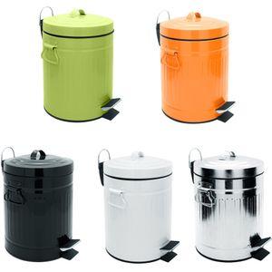 Sanwood Treteimer OSCAR Absenkautomatik   Bad-Abfalleimer 5 L   Mülltonnen Retro-Design   Stahl, Farbe:silber