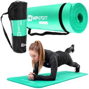 Hop-Sport Gymnastikmatte 1cm  - rutschfeste Yogamatte für Fitness Pilates & Gymnastik mit Transporttasche - Maße 183cm Länge 61cm Breite - türkis