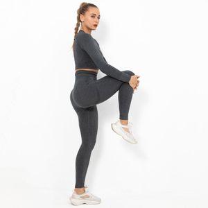 Yoga Sportanzug Frauen Workout Outfit Hohe Taille Nahtlose Crop Top Kleidung S. Schwarz