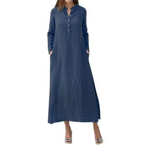 Frauen Casual Long Dress Long Sleeves Seitentaschen Schlitz Vintage Maxi Robe L