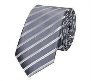 Schlips Krawatte Krawatten Binder 6cm hellgrau silber grau gestreift Fabio Farini