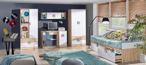 Jugendzimmer Set Bett Kleiderschrank 90x200cm eiche hell / weiß - grau