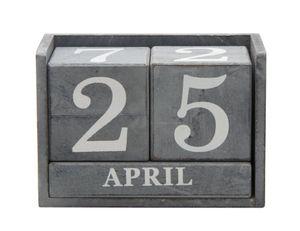 Rivanto Tisch Dauerkalender aus Holz, Shabby-Optik, in grauem Used-Look