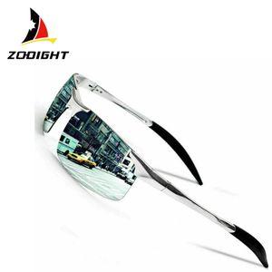 Zodight Herren Polarisierte Treiber Glasses Sportbrille Sonnenbrille Al-Mg Metallrahme Ultra leicht  Silber