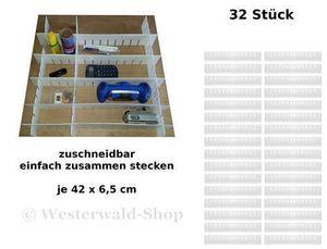 32tlg. Schubladenteiler Set Fachteiler Schubladeneinteiler Schubladen Einteiler