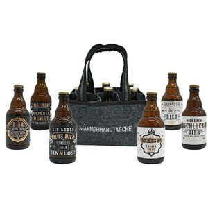 Jack's Männerhandtasche / Biergeschenk für Männer / gefüllt mit 6 Bierflaschen 🍻 / witzige Sprüche / Herrengeschenk / Partygeschenk 🎁 / Sixpack / für echte Männer