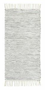 Wollteppich Läufer 60 x 160 cm Schwarz Webteppich Streifen und Fransen