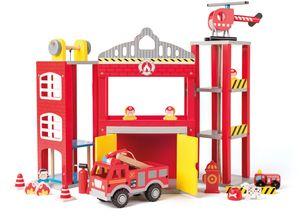 Woody 91810 Holz - Feuerwehrstation mit viel Zubehör. 19 teiliges Set