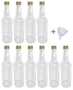 Glasflaschen 500 ml mit Schraubverschluss zum selbst Befüllen für Öl Likör Schnaps Bier Wasser Flasche leere Flaschen inkl. Trichter, Stückzahl:10x