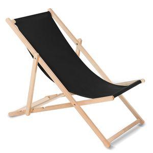 Liegestuhl aus Buchholz ohne Armlehne  Sonnenliege Gartenliege 110kg schwarz
