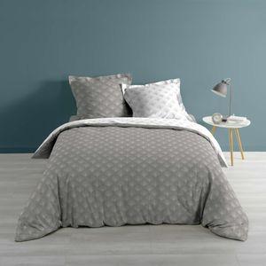 3tlg. Bettwäsche 240x220 Wendebettwäsche Bettdecke Set Kissen Übergröße grau
