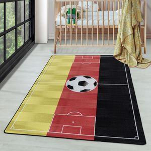Kurzflor Kinderteppich Spielteppich Teppich Fussball Deutschland Rot, Farbe:Rot, Grösse:120x170 cm
