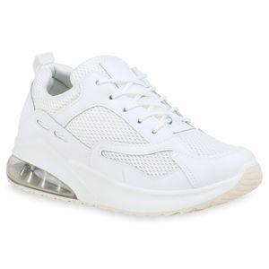 Mytrendshoe Damen Sportschuhe Laufschuhe Fitness Sneaker Bequeme Turnschuhe 833981, Farbe: Weiß, Größe: 39