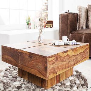 Massiver Design Couchtisch BOLT 80cm Sheesham stone finish Handmade Wohnzimmertisch Holz