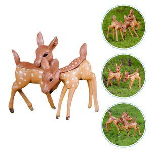 2 Stück Mini Deer Dekoration Micro Landscape Dekorative Requisiten Harz Bonsai Dekor