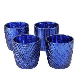 Windlichter / Teelichtgläser Maritim 4 teilig - blau