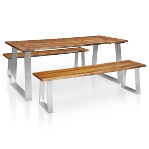 Huicheng 3-tlg. Essgruppe Bierzeltgarnitur mit 1 Tisch + 2 Bänke Akazie Massivholz