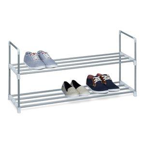 Schuhregal - Metall - Silber - 90 x 45 x 31 cm - Zwei Ablagen, pflegeleicht und flexibel