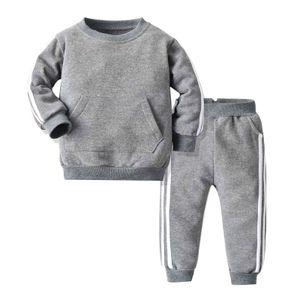 IEFIEL Unisex Kinder Jogginganzug 2 tlg Bekleidungsset Sportanzug Trainingsanzug für Mädchen Jungen,Grau,Gr.122-128