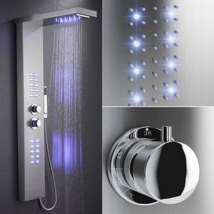 WYCTIN Dusche Duschpaneel LED beleuchtet Duscharmatur Wasserfall Duschsäule Thermostat