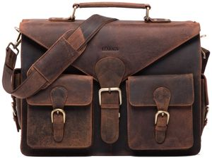 LEABAGS Dayton Aktentasche aus echtem Büffel-Leder im Vintage Look, Farbe:Rouge