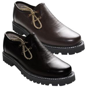 Haferlschuhe Trachtenschuhe Original-Handmachart Glattleder, Schuhgröße:43, Farbe:Dunkelbraun