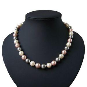 Perlenkette Muschelkern Perlen creme nude 10mm Collier Braut K1444