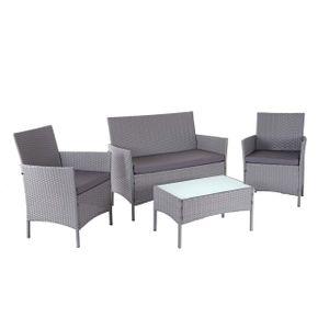 Poly-Rattan Garten-Garnitur HWC-D82, Sitzgruppe Lounge-Set  grau mit Kissen anthrazit