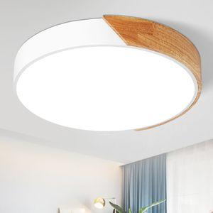 36W LED Deckenleuchte dimmbar mit Fernbedienung, Runde Deckenlampe für Wohnzimmer Schlafzimmer, Holz & Metall [Energieklasse A++]