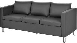 COSTWAY 3 Sitzer Sofa mit Kissen, Sofagarnitur Kunstleder, Couchgarnitur perfekt für Zuhause und Büro, grau