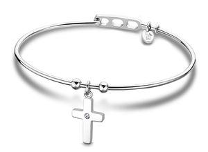 Damen Armband Armreif Edelstahl Lotus Style LS2015-2/4 Kreuz Strass