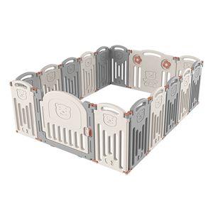Kleiner Bär Laufgitter Laufstall Baby Absperrgitter Groß 16 Paneele Krabbelgitter kunststoff Schutzgitter Babyzaun klappbar