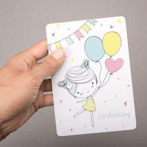 5 Einladungskarten Mädchen mit Luftballons mit GLITZER inkl. 5 transparenten Briefumschlägen Kindergeburtstag Mädchene E