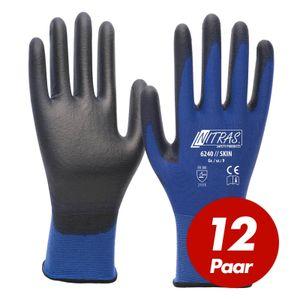 NITRAS 6240 Skin Nylon-Strickhandschuhe mit PolyurethanBeschichtung, Feinmontage, Touchscreen geeignet - 12 Paar Größe:9