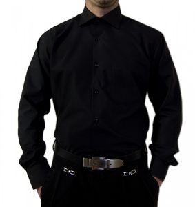 Designer Herren Hemd bügelleicht klassischer Kragen K11 Herrenhemd Kentkragen viele Farben, Größe klassische Hemden:42 / L, Farbe Klassische Hemden:Schwarz