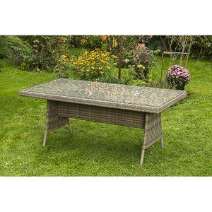 Gartentisch SantaFe-29 Stahl, Kunststoffgeflecht naturgrau, braun, BxHxT: ca. 180x75x90cm