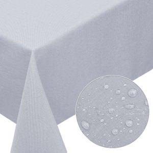 Melody® Premium Tischdecke Leinen-Optik abwaschbar mit Fleckschutz 130x220cm eckig hellgrau