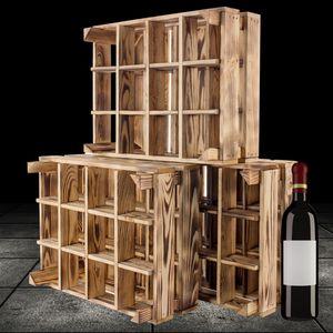 3 neue geflammte/braune Holzkiste für Flaschen 50cm x 40cm x 23cm Flaschenregal Obstkiste Weinkiste Flaschenständer