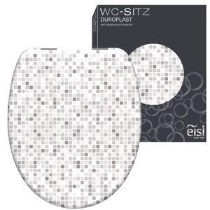 EISL WC Sitz MOSAIK GRAU, Duroplast Toilettendeckel mit Absenkautomatik, maximale Belastung vom Toilettensitz 150 kg