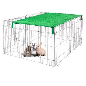 ECD Germany Freilaufgehege für Kleintiere mit Sonnenschutz 120 x 58 x 92 cm, Freigehege aus Metall verzinkt, Auslauf für Kaninchen, MeerschWeißchen und Hühner, Kleintiergehege Laufstall Kaninchenstall