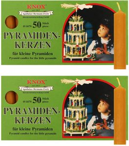 2 Packungen KNOX - Pyramidenkerzen 14/70  -  NATUR - 50er Packung