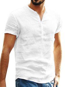 Kurzärmliges Hemd aus Baumwolle und Leinen für Herren mit einfarbigem Oberteil,Farbe: Weiß,Größe:L
